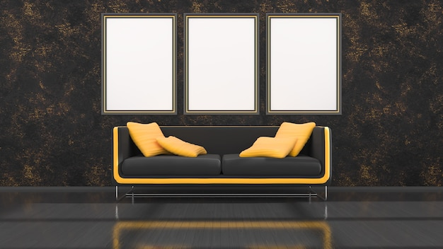 Black interior with modern black and yellow sofa and frames for mockup, 3d illustration