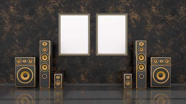 Black interior with modern design black and yellow speaker system and frame for mockup, 3d illustration