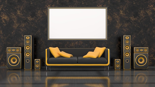 Black interior with modern design black and yellow speaker system, sofa and frame for mockup, 3d illustration