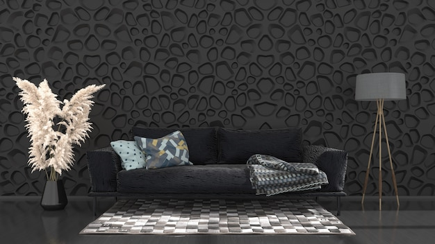 Black interior with sofa and lamp, 3d illustration