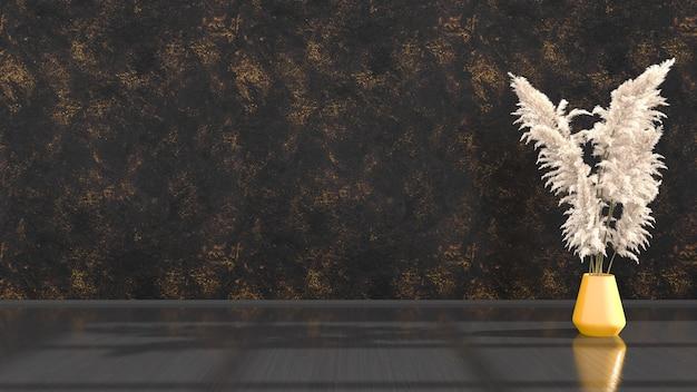 Черный интерьер с желтыми элементами для макета, 3d иллюстрация