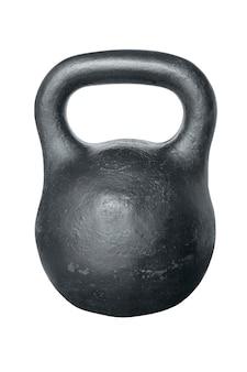 흰색 표면에 고립 된 웨이트 트레이닝을위한 검은 철의 kettlebell