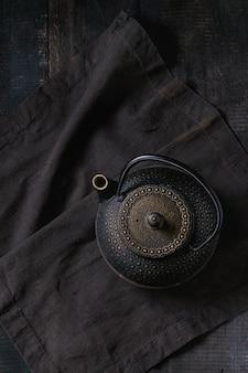 Black iron teapot