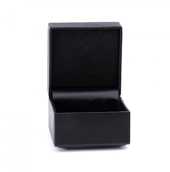 Black jewelry box isolated . black leather box. open black gift box isolated .