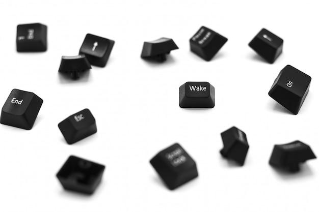 Black keyboard button wake isolated on white background