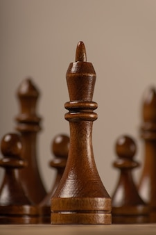 Black king against the background of the rest of the chess pieces