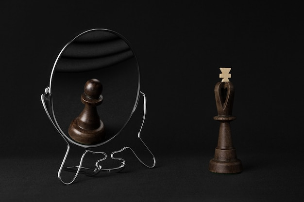 Black king sees a black pawn in the mirror