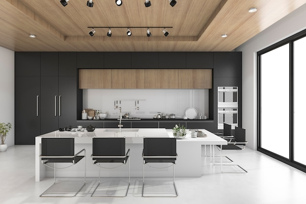 Black kitchen with wood ceiling
