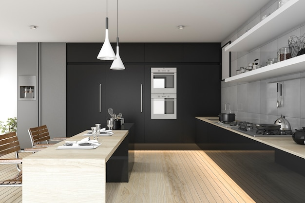 Black kitchen with wood floor and light