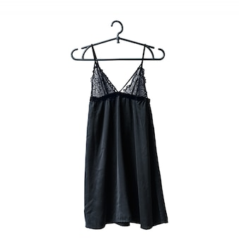 Black lace nightie on the hanger. white . isolate