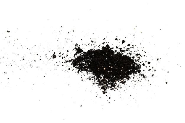 흰색 배경에 고립 된 식물에 대 한 검은 땅. 그라운드 패턴.