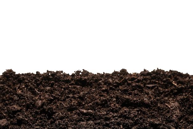 Черная земля для растений, изолированные на белом фоне.