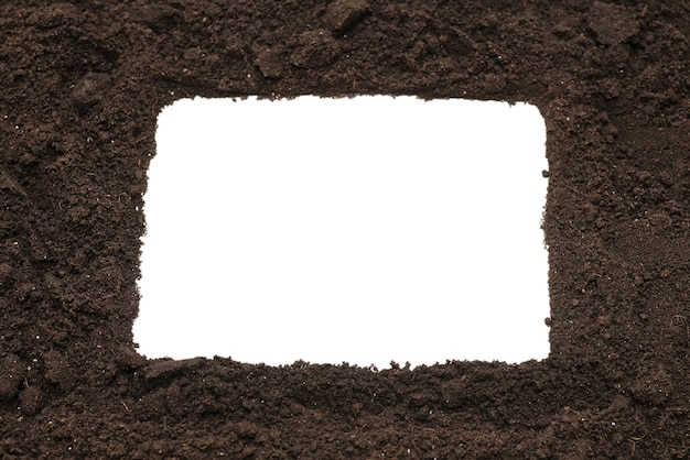 Black land for plant isolated on white background. frame. copy space.