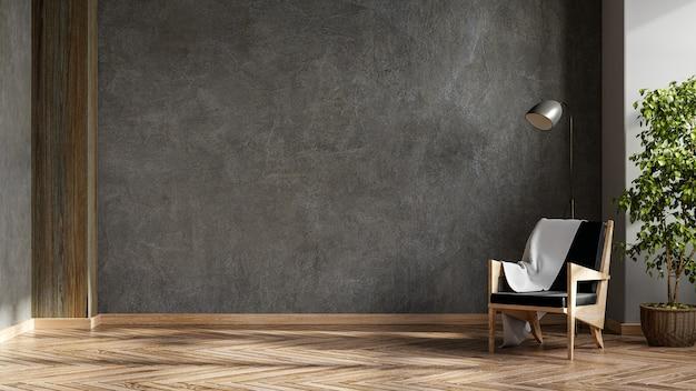 Черное кожаное кресло и лампа в интерьере гостиной с растениями, бетонная стена. 3d визуализация