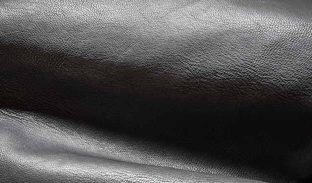 Black leather background close up of leather