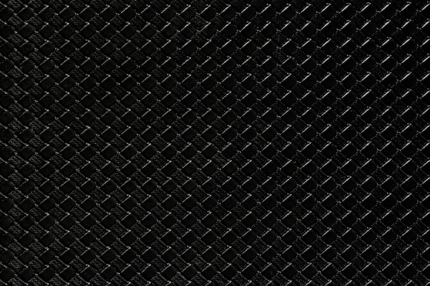 Black leather background with imitation weave texture. glossy artificial leather structure.