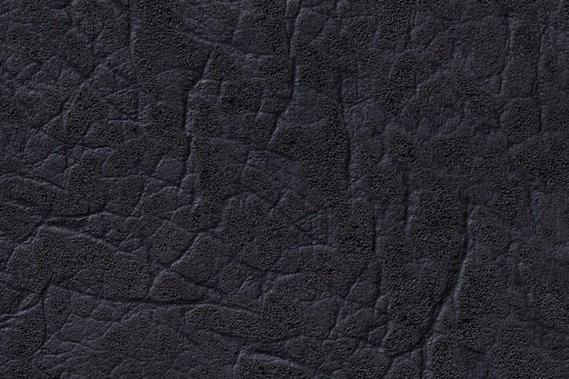 Black leather background with texture, closeup.