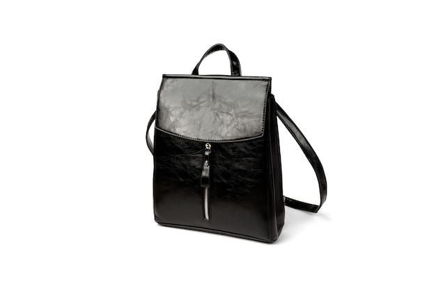 Черный кожаный рюкзак, изолированные на белом.