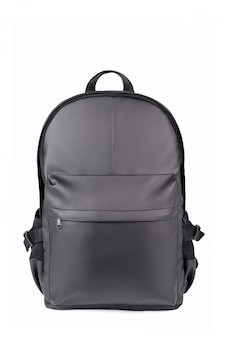 Black leather backpack isolated on white