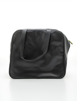 Black leather bag on white