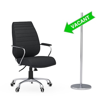 白い背景の上の矢印ルート空いているサインと黒革ボスオフィスチェア。 3dレンダリング。