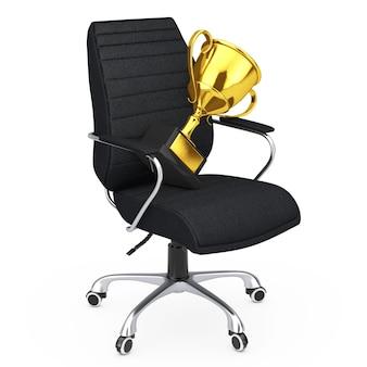 Черное кожаное офисное кресло босса с золотым трофеем на белом backgroundl. 3d-рендеринг.