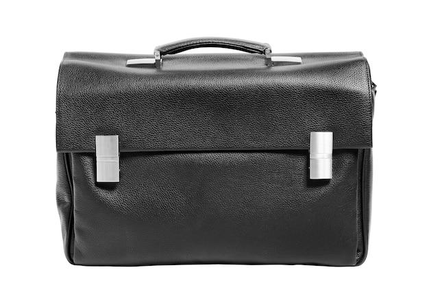 Черный кожаный портфель, изолированные на белом фоне