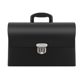 白地にシルバーのバックルが付いた黒革のブリーフケース。 3dレンダリング