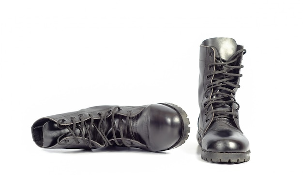 Black leather combat boot or army boots