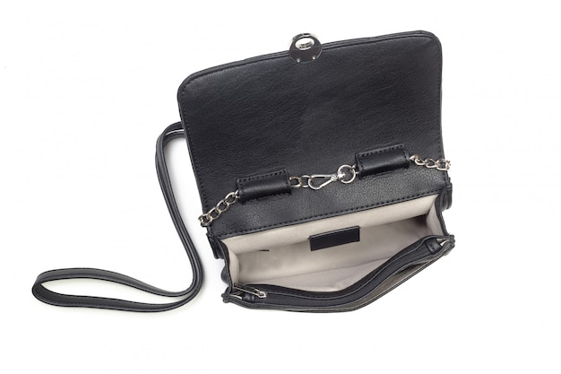 Black leather female handbag isolated
