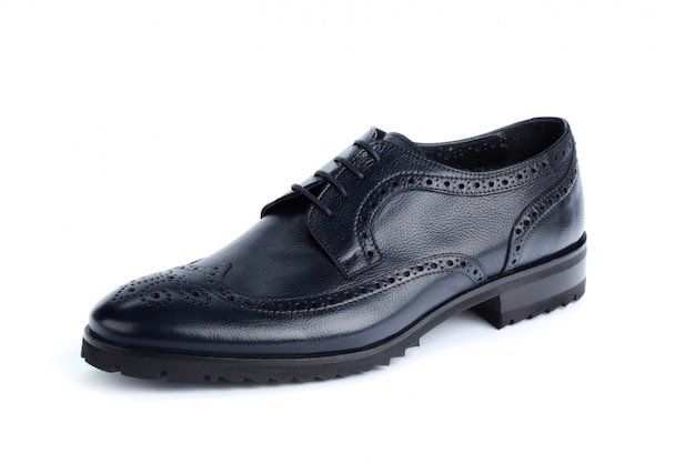 Black leather formal male shoes isolated on white