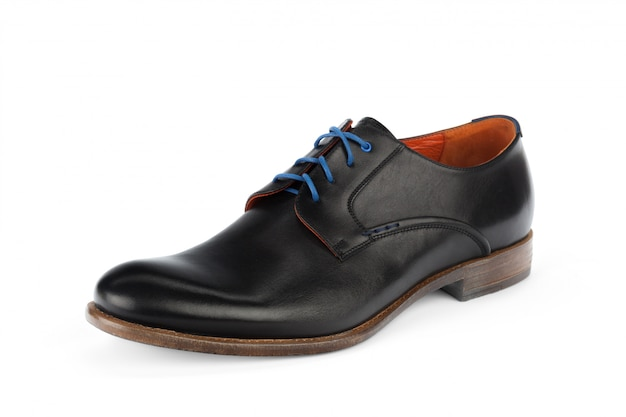 Black leather formal male shoes isolated
