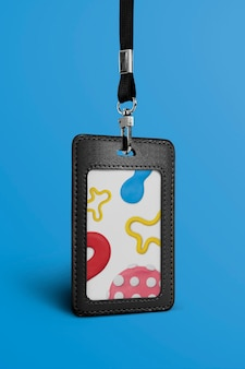Black leather id card with lanyard in cute clay pattern
