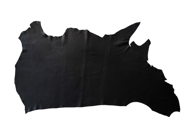 Black leather is placed on a white background