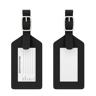 Black leather luggage identification label tag with name, address, city, state and phone fields on a white background. 3d rendering