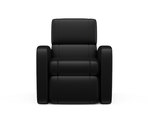 Черное кожаное роскошное кресло 3d визуализации на белом фоне удобное кресло иллюстрации