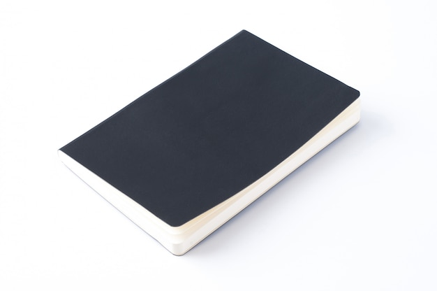 Black leather notebook isolated on white background.