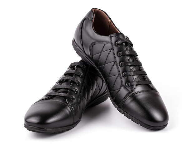 Black leather shoes for man