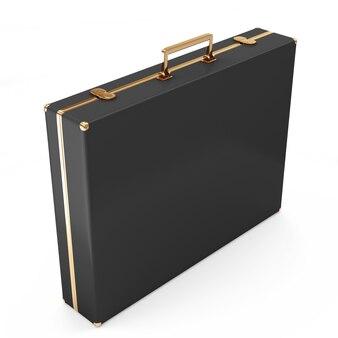 白で隔離される黒い革のスーツケース