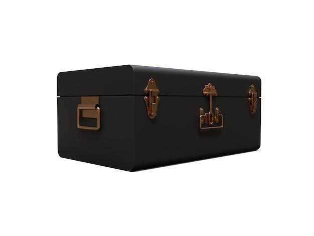 絶妙な留め金のビンテージスタイルの黒い革のスーツケース