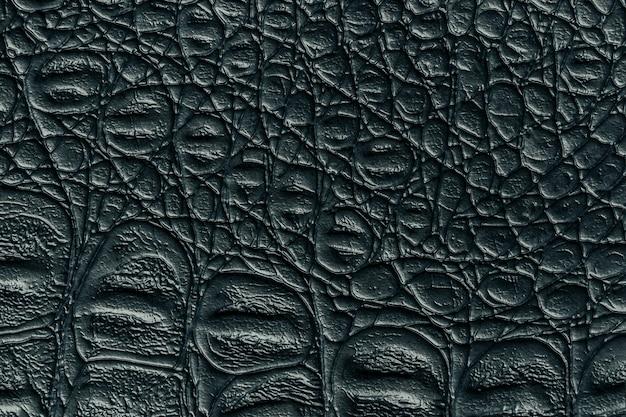 黒革の質感の背景、クローズアップ。ダークグレーの爬虫類の皮膚、マクロ。爬虫類繊維の構造。