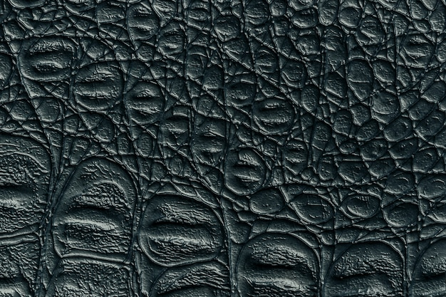 Black leather texture background, closeup. dark gray reptile skin, macro. structure of reptile textile.