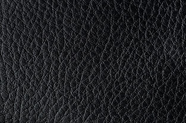 Black leather texture background, closeup photo