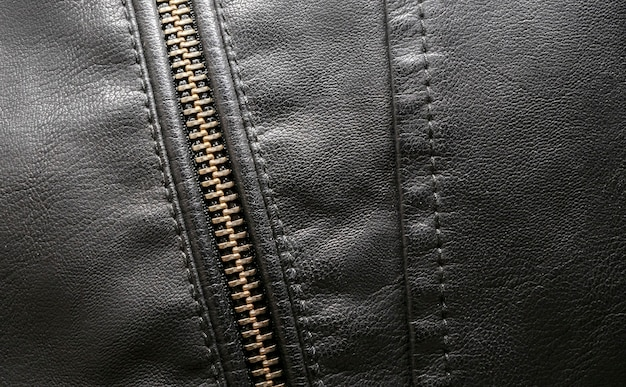 Black leather texture background detailed close up of leather
