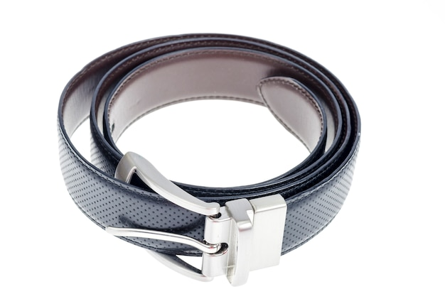 Black leather twisted belt isolated on white
