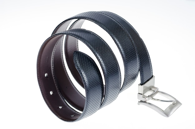Black leather twisted belt isolated