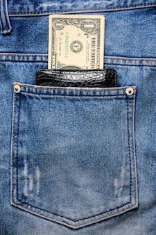백 블루 청바지 포켓 데님에 돈이 달린 블랙 가죽 지갑