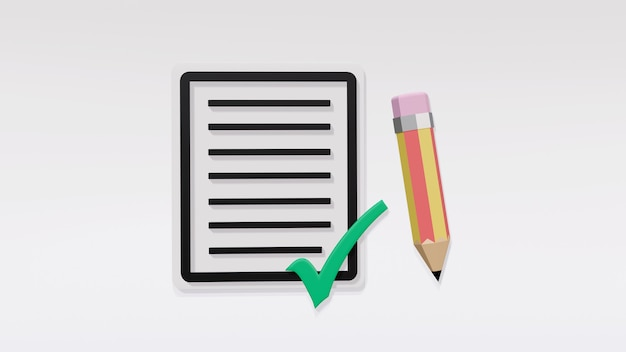 흰색 배경에 격리된 녹색 눈금과 연필이 있는 종이의 검은색 선 메시지, 작업 완료, 시험 통과, 긍정적인 설문 조사 개념, 설문지 작성, 3d 렌더링 그림