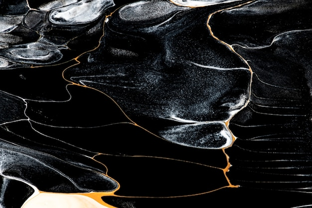Sfondo di marmo liquido nero astratto che scorre texture arte sperimentale