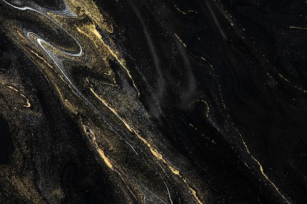Black liquid marble background handmade acrylic paint